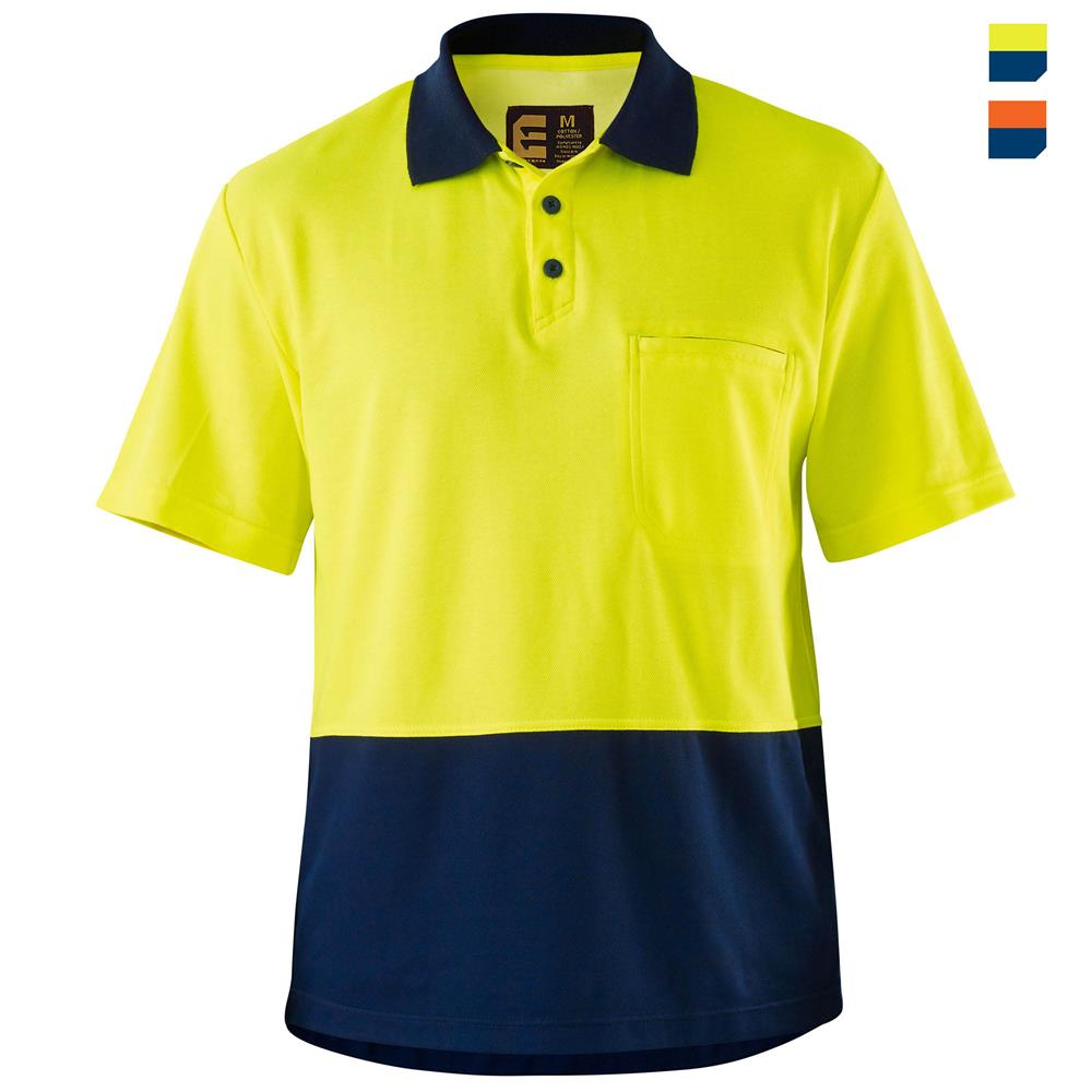 Hi vis cotton backed spliced polo shirt s s for Hi vis polo shirts with pocket