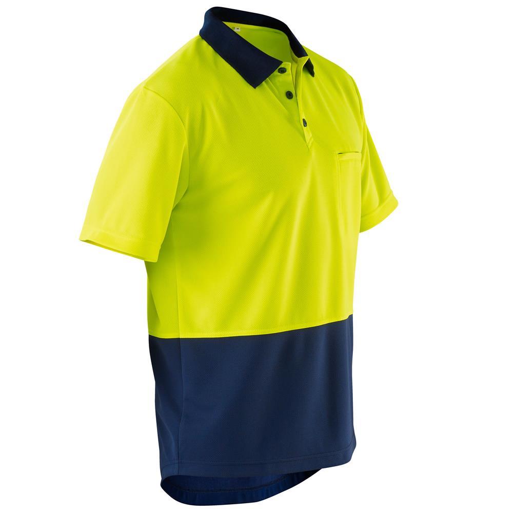 Hi vis micromesh spliced polo shirt s s for Hi vis polo shirts with pocket