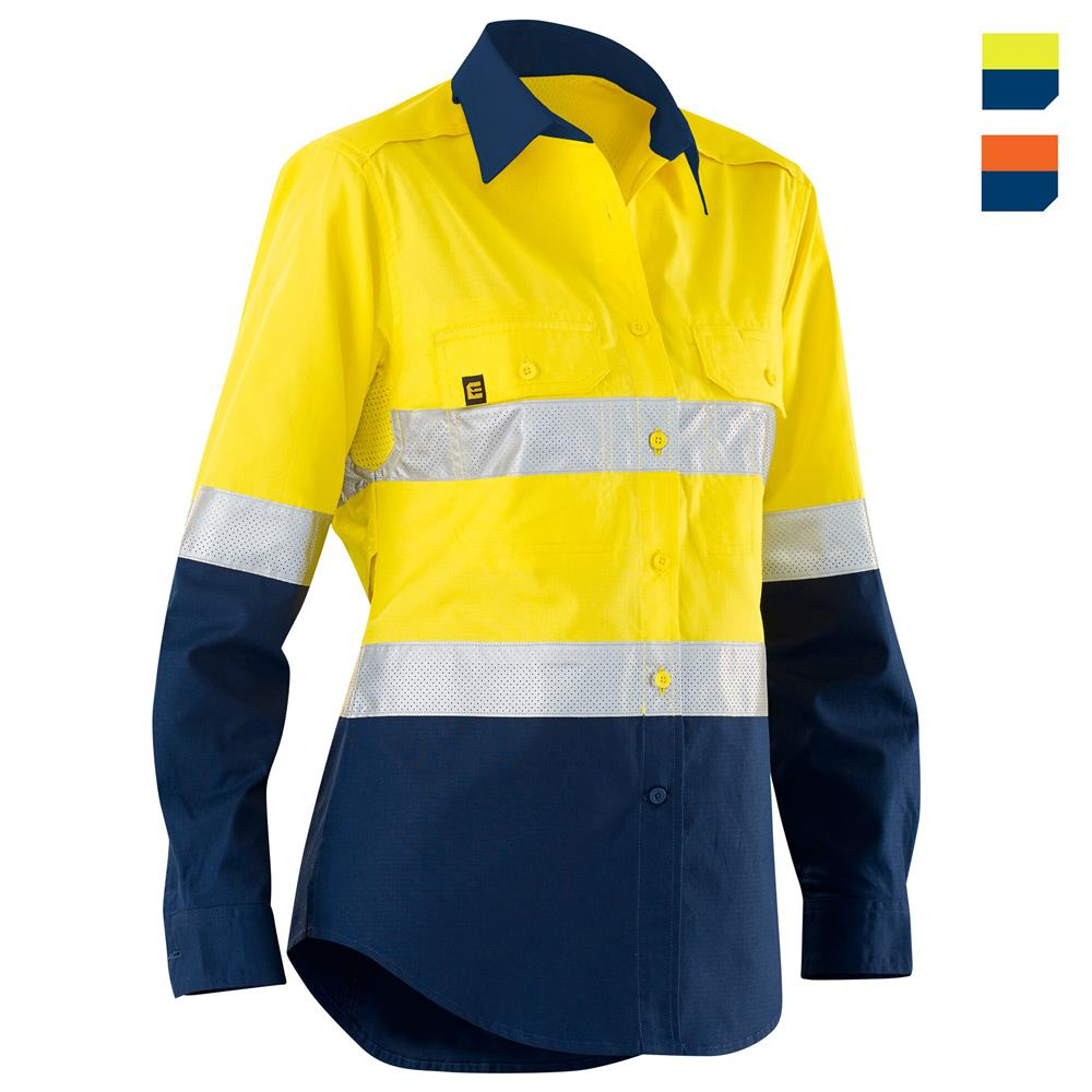 women 39 s hi vis aerocool spliced shirt with perforated tape l s