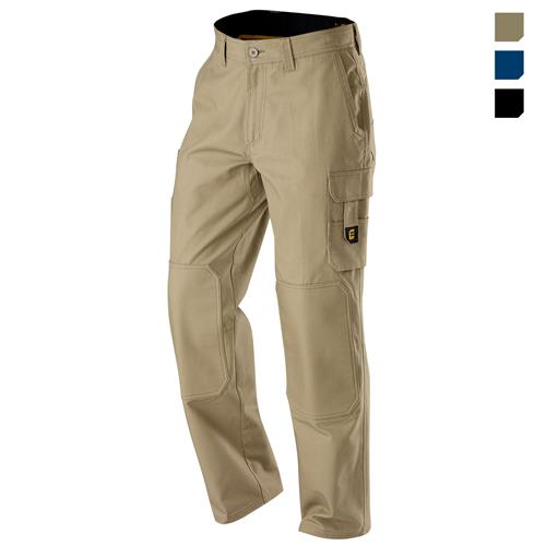 E1160 Khaki Chizeled Cargo Pants with Knee Protection