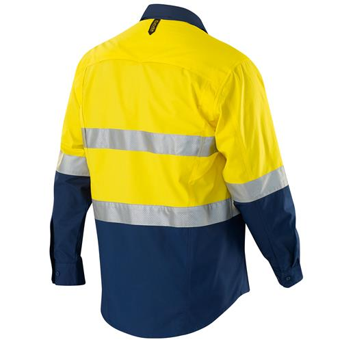 E1370ST Hi Vis Spliced AeroCool Shirt with Perforated Tape