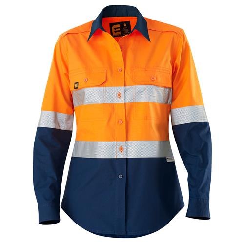 E2370ST Women's Hi Vis Aerocool Shirt with Perforated Tape