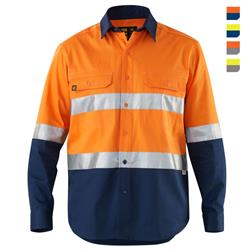 E1300ST Hi Vis Spliced Evolution Drill Shirt with Tape