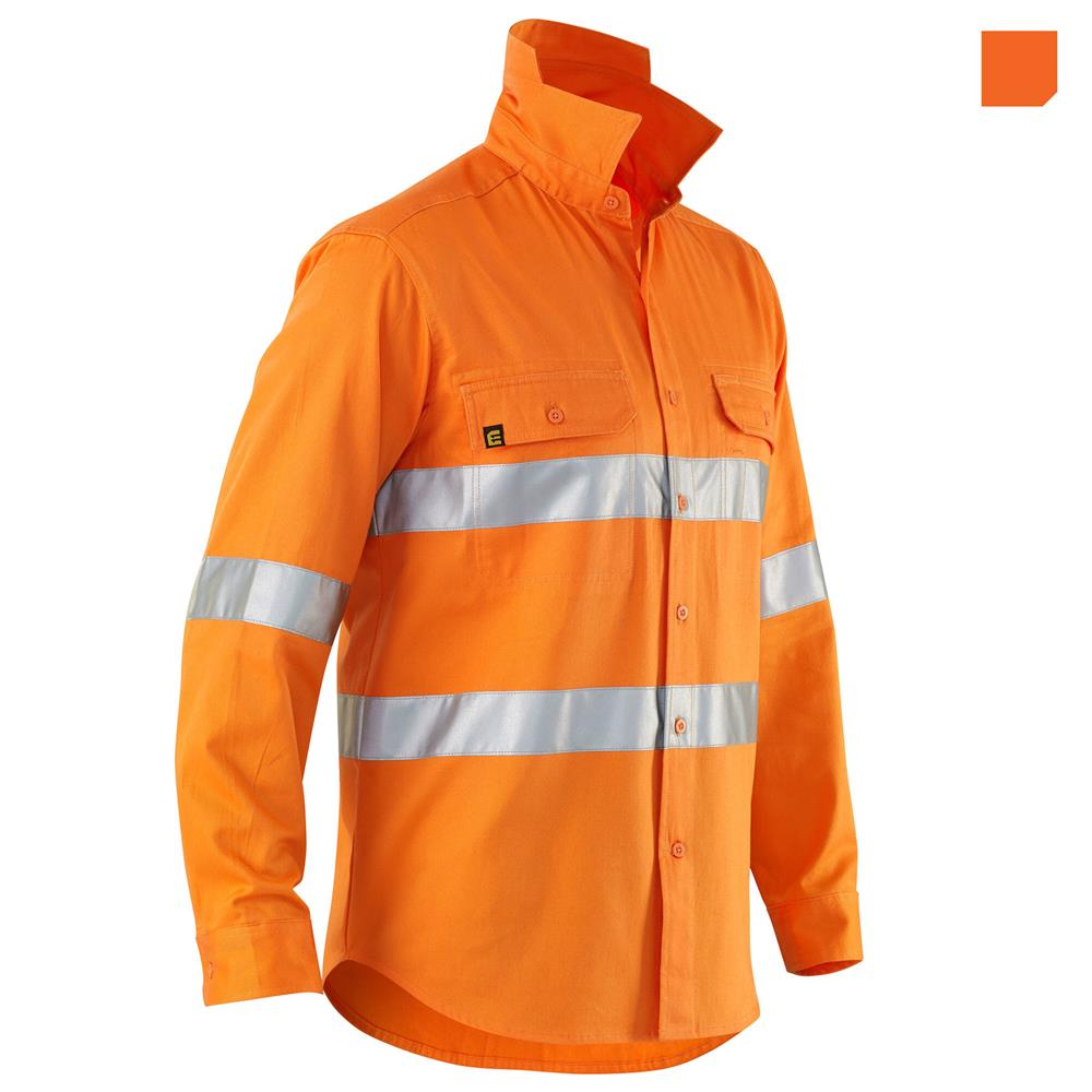 E1300T Hi Vis Orang Evolution Drill Shirt with Tape