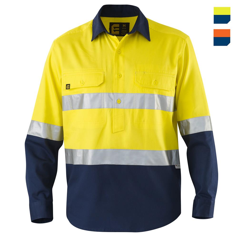 E1310ST Hi Vis Closed Front Drill Shirt with Tape L/S