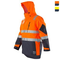 Hi Vis Waterproof Jacket with Tape - Orange Navy
