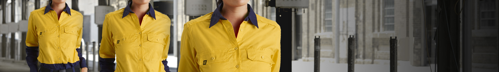 The ELEVEN workwear women's shirt are designed for a flattering women's fit, the shirts all feature the ELEVEN workwear standard sun shield collar, extra length tail and mechanical stretch fabric. To ensure all day working comfort our AeroCool range also features perforated 3M retro reflective tape.
